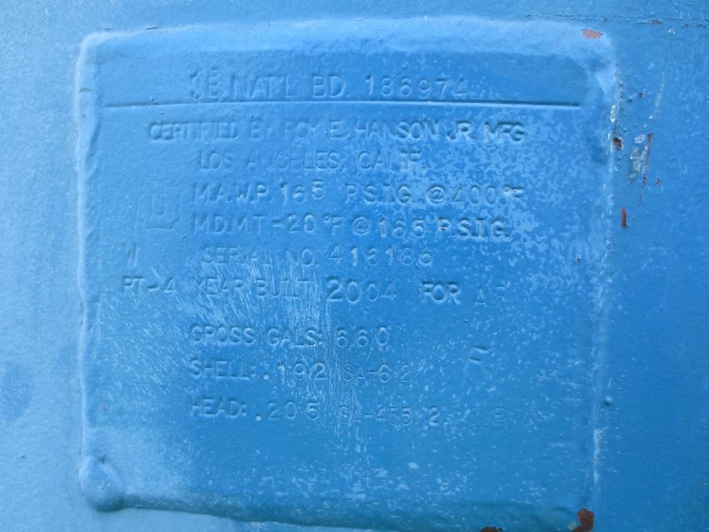 Hanson Pressure Tank, 660 Gal. Mfg. Date 2004 - Image 2 of 2