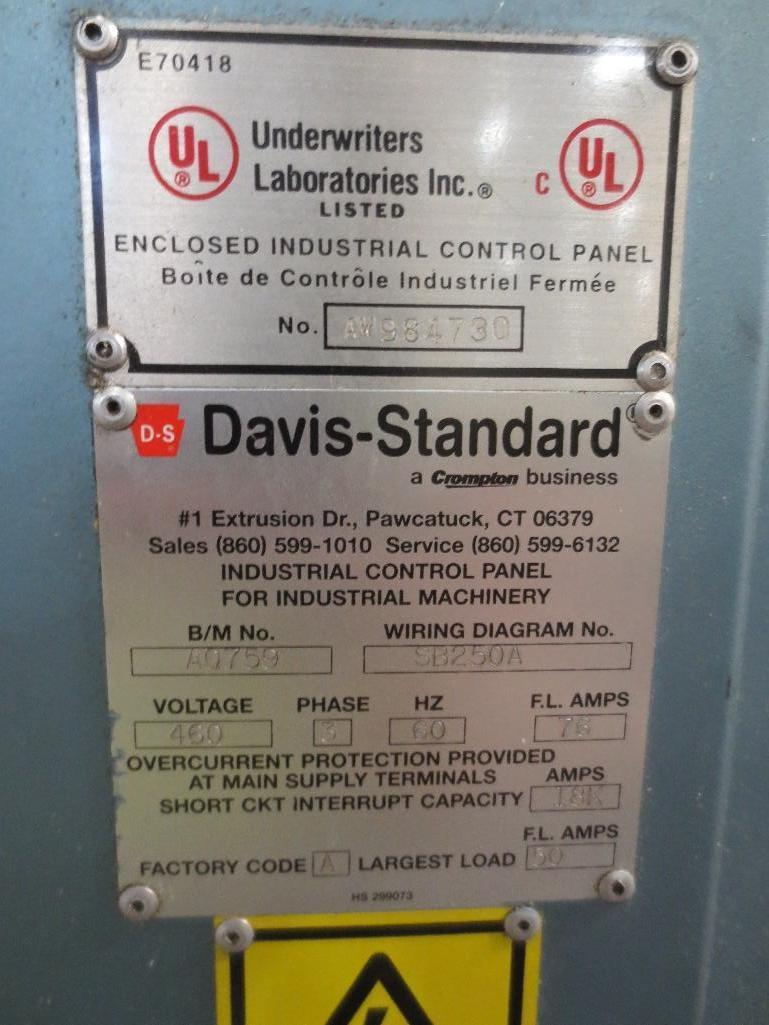 Davis Standard Corp. Extruder With Leeson 40hp Motor & Control Cabinet, M/N SB250, S/N AQ758, Mfg. D - Image 9 of 9