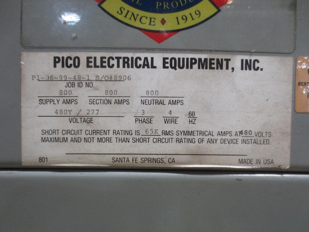 Pico Breaker Panel, 480v 3ph 60hz 800amp S/N 8906 - Image 3 of 3