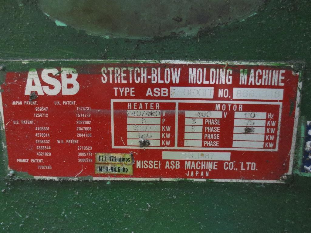 Nissei Stretch Blow Molding Machine, M/N ASB650EX II (Needs Gear Box) S/N 8665348, Mfg. Date 2/87 - Image 15 of 15