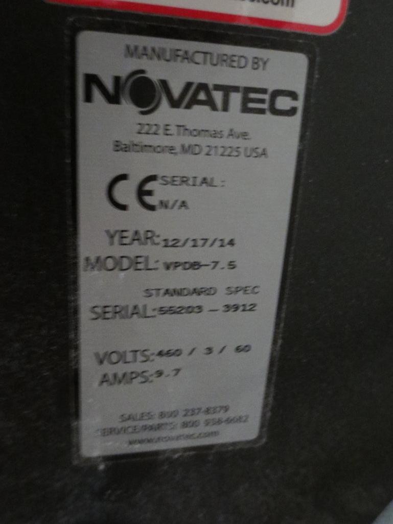 Novatec Vacuum Pump M/N VPDB-7.5 S/N 55203-3912 Mfg. Date 12-14 - Image 5 of 5