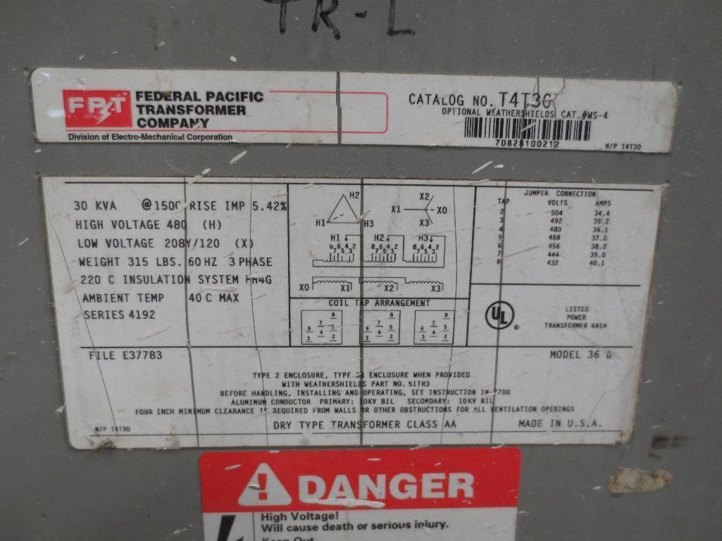 FPT Transformer, 30kva 480v 60hz 3ph 315lbs, Cat No. T4T30 S/N 70828100212 - Image 3 of 3