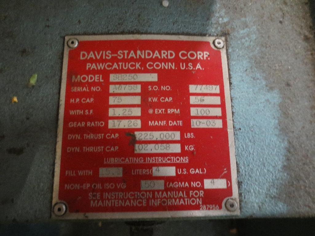 Davis Standard Corp. Extruder With Leeson 40hp Motor & Control Cabinet, M/N SB250, S/N AQ758, Mfg. D - Image 8 of 9
