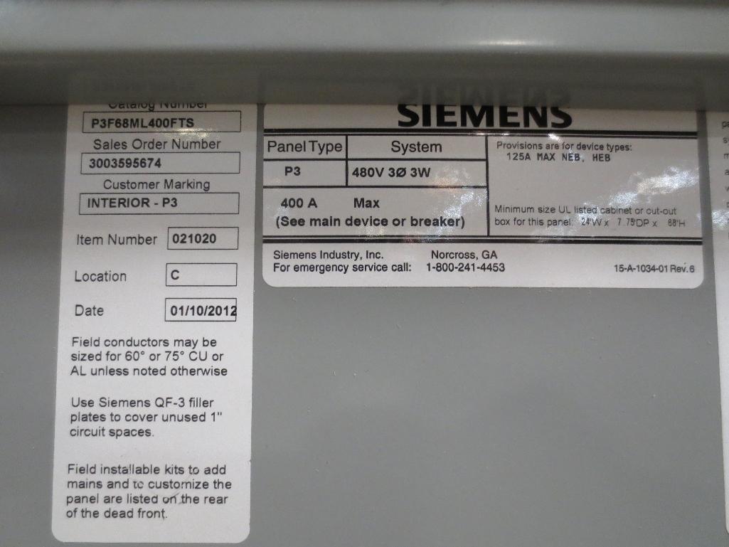 Siemens Breaker Panel, 480v 400amp Cat No. P3F68MC400FTS - Image 2 of 2