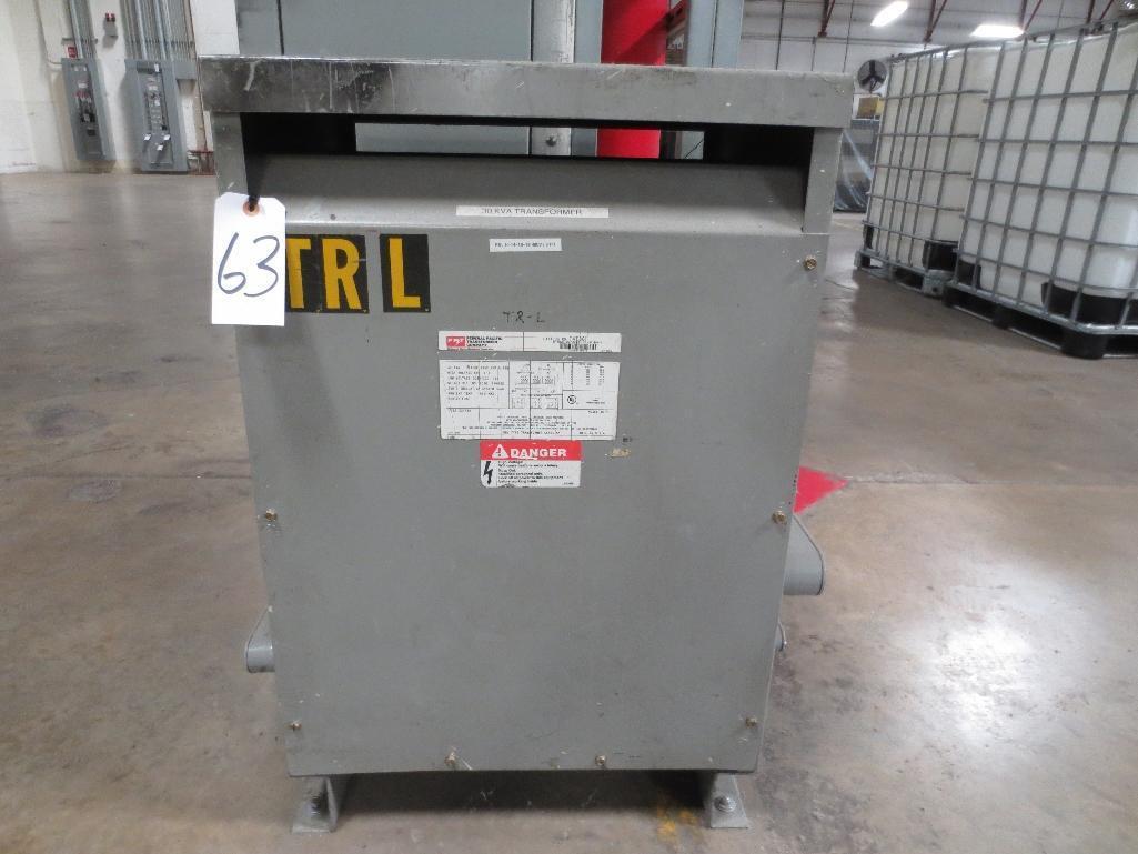 FPT Transformer, 30kva 480v 60hz 3ph 315lbs, Cat No. T4T30 S/N 70828100212