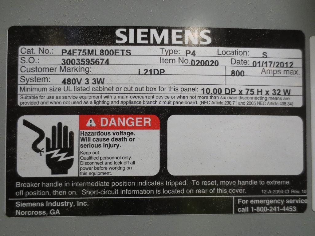 Siemens Breaker Panel, 400v 800amp Cat No. P4F75ML800ETS - Image 2 of 2