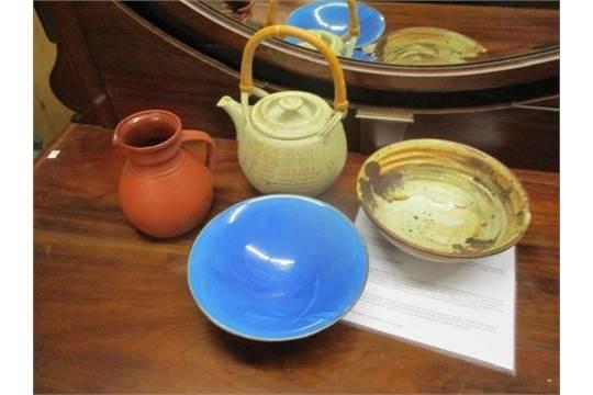 Studio pottery to include a Cambridge ale jug, a blue glazed
