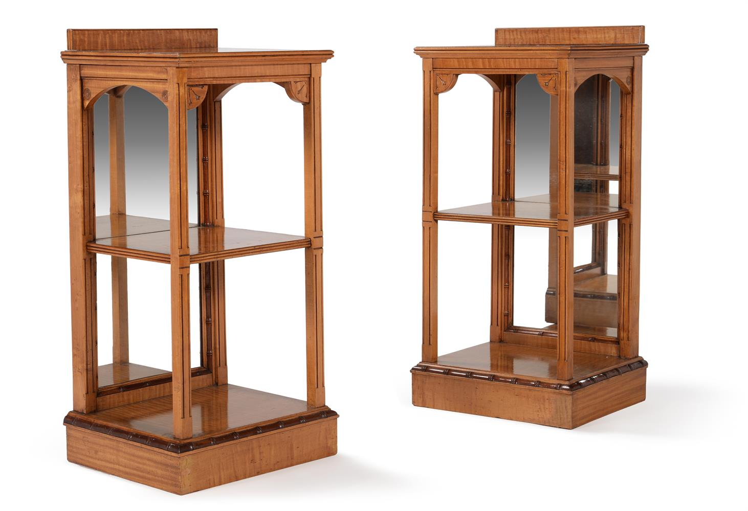 A pair of Aesthetic Movement sycamore bedside tables