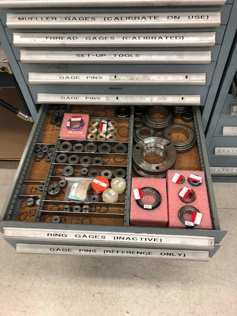 Lot 295 - Cabinet w/ Tread Gage and Deltronics