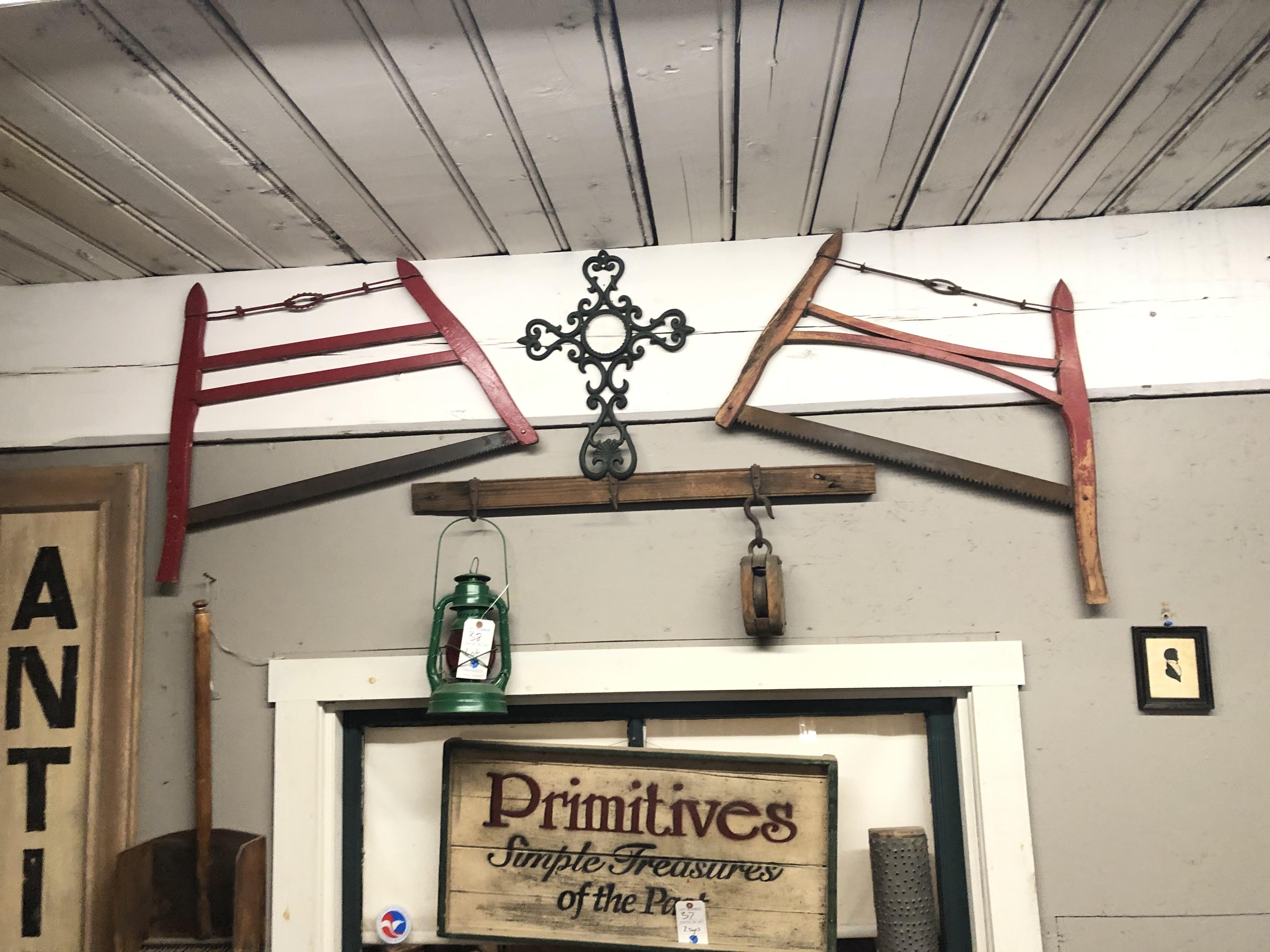 {LOT} On Wall c/o: Lantern, Pulley (2) Hand Saws, Rake & Rack - Image 2 of 2