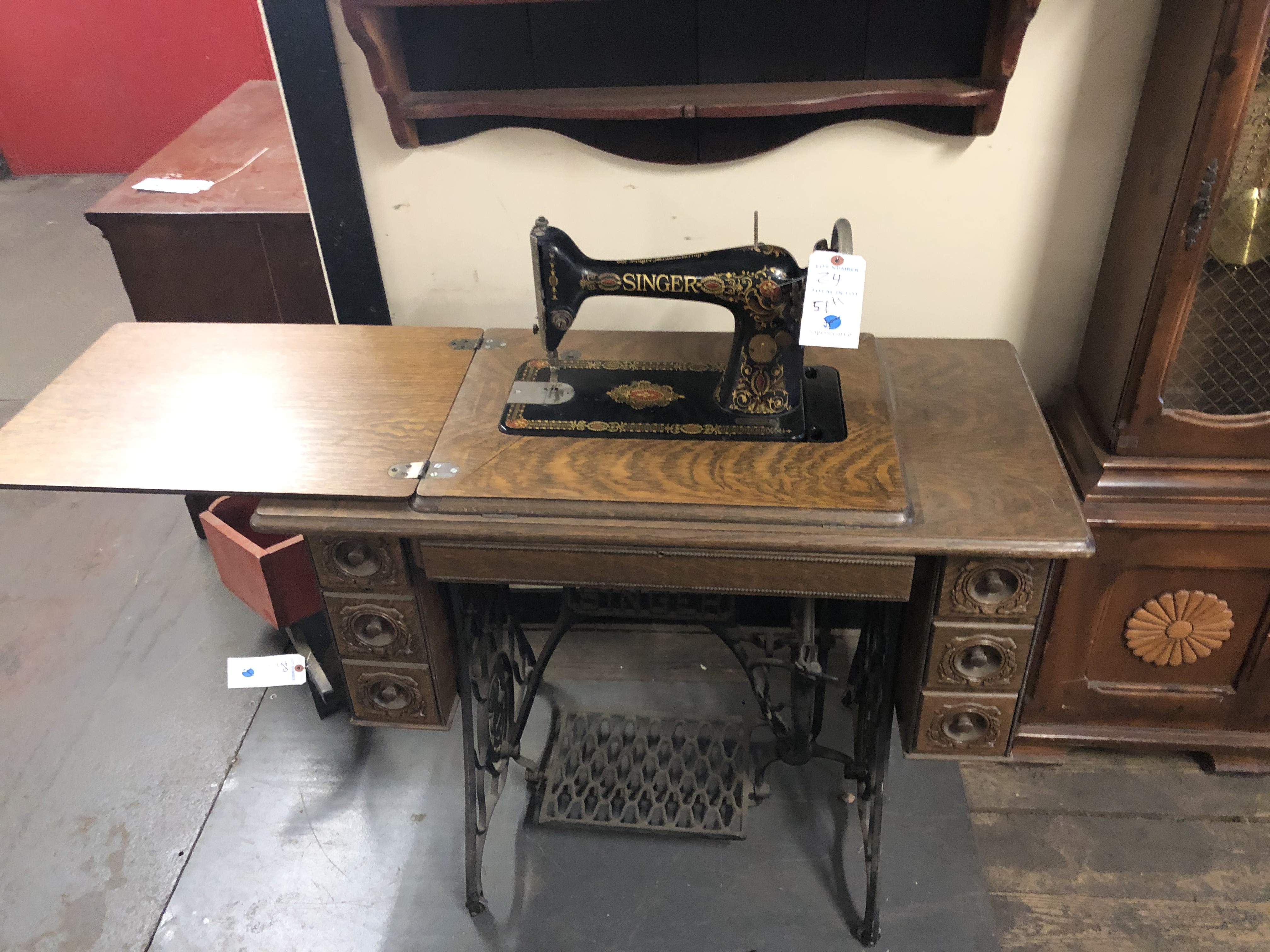 """Singer #63546774 Sewing Machine 51"""" w/Table & Foot Pedal"""