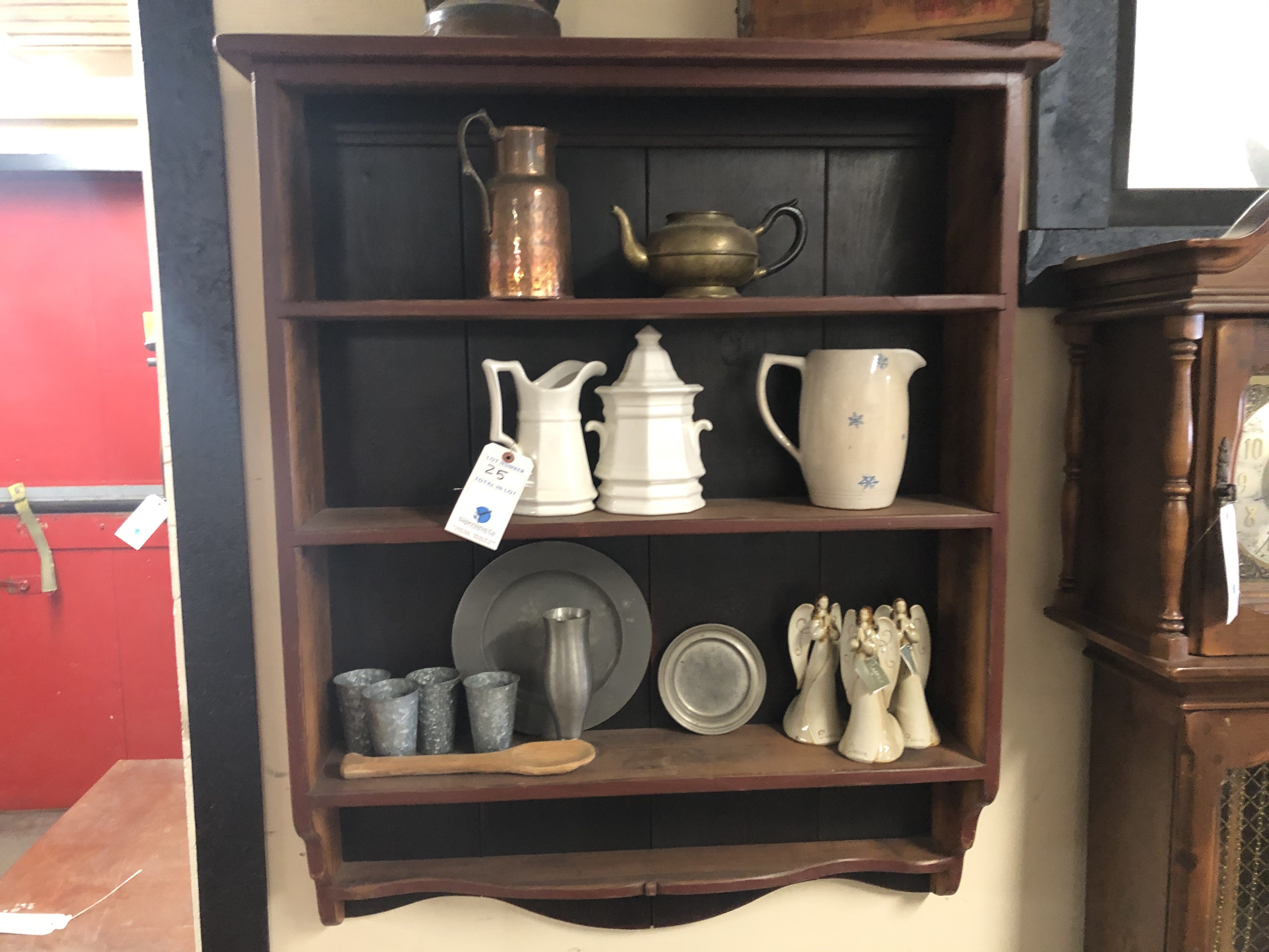 Wall Mounted 3 Section Shelf w/Porcelain Mugs & Galvanized Antiques