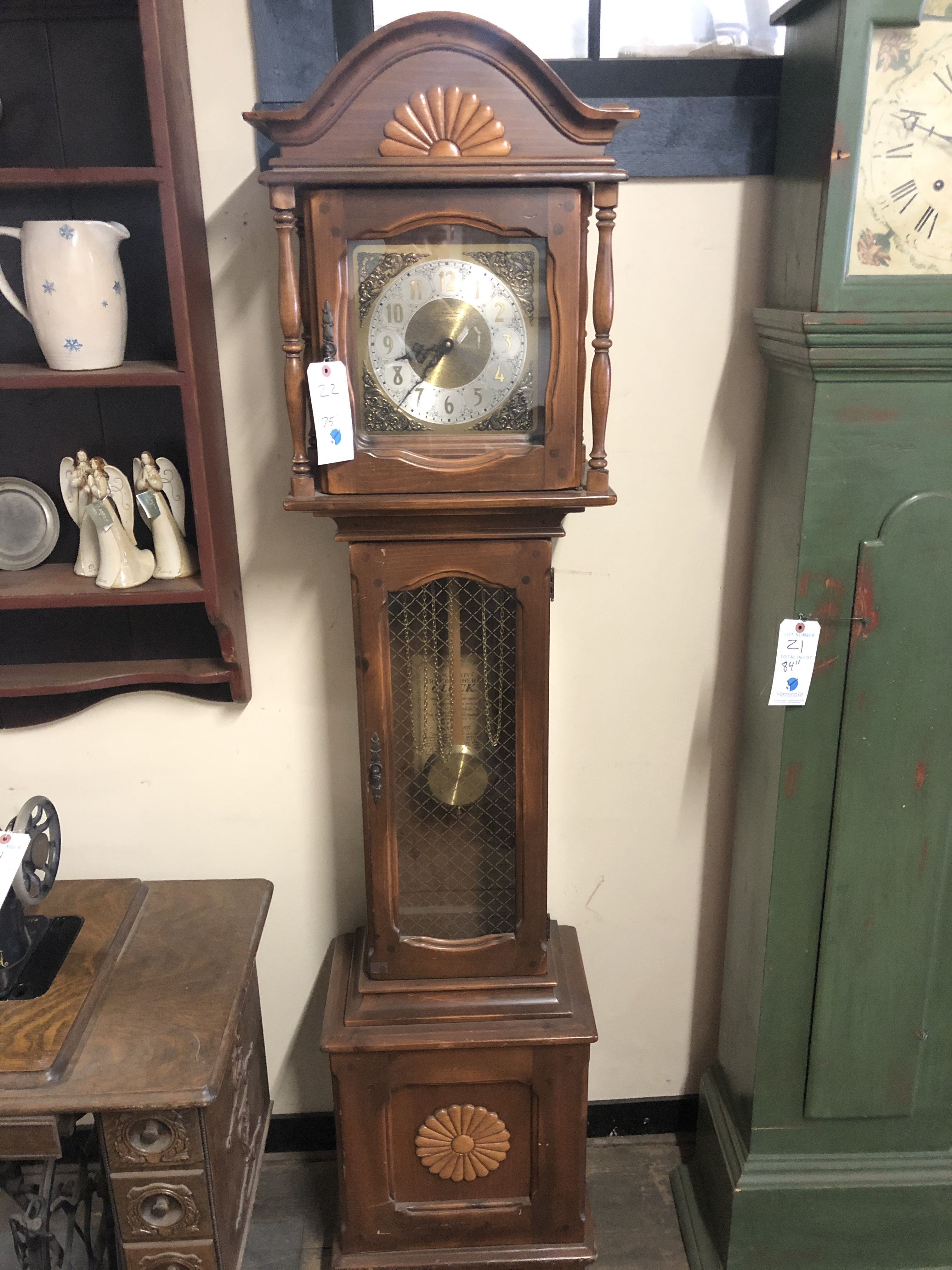 """New England Clock 75""""H Abelcottey Grandfather Clock"""