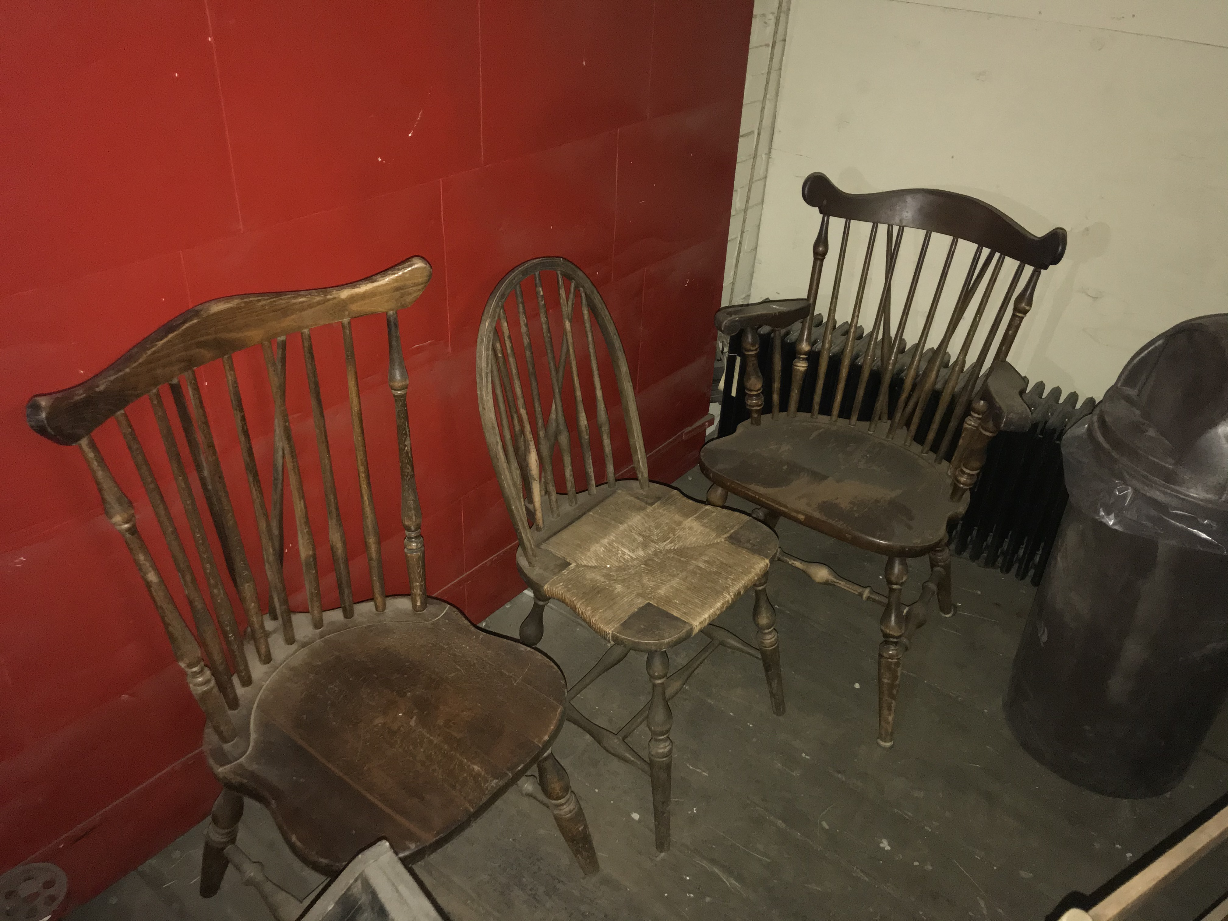 (3) Wood Spindle Back Chairs