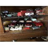 {LOT} Vintage Toy Cars in Wood & Glass Case c/o: Pepsi Cola, Ford, Etc. Approx. 110 Units