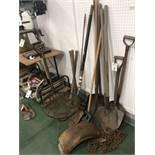 {LOT} Implements c/o: Shovels, Picks, Cast Iron Table, Chain, Etc