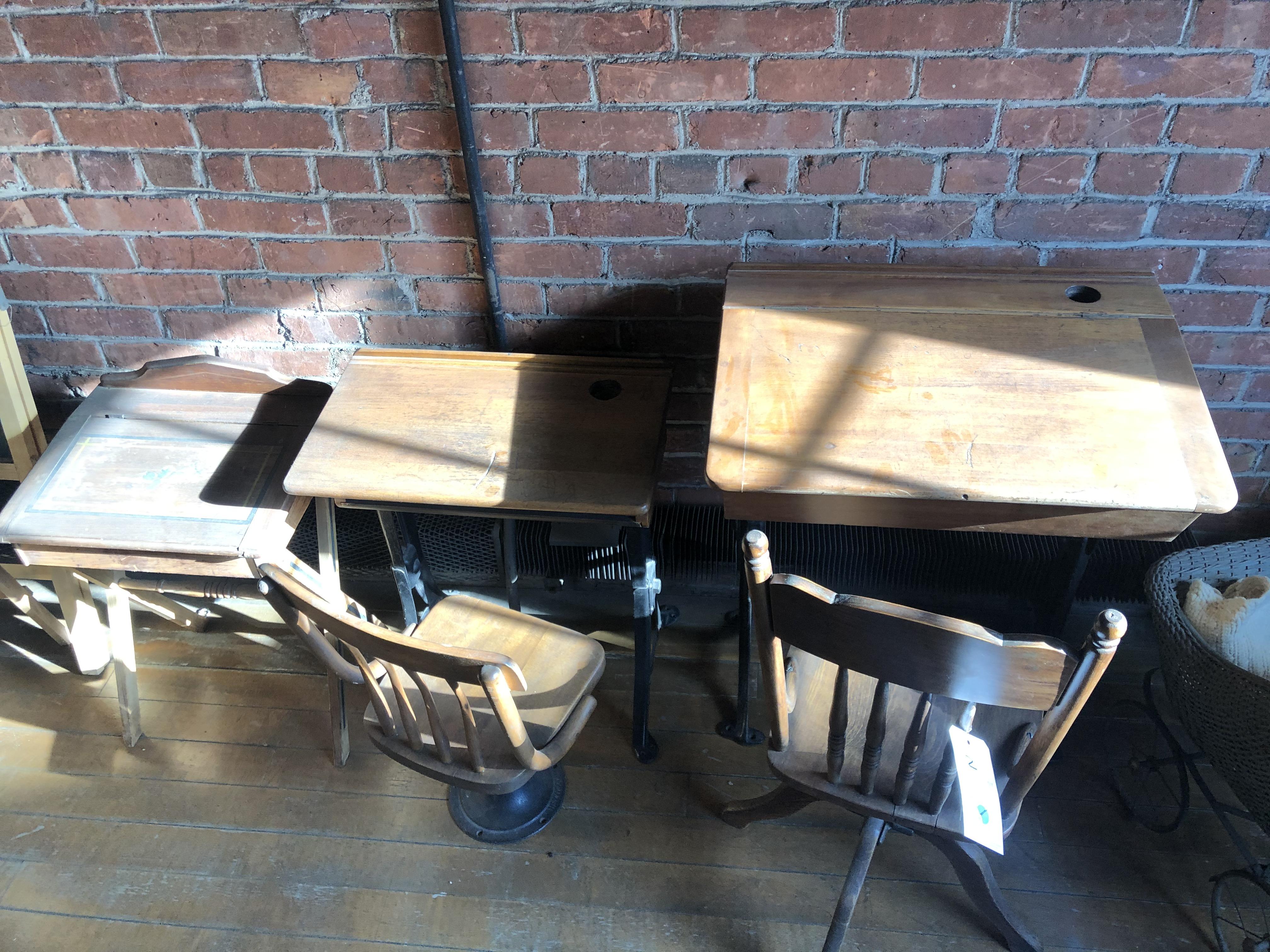 (3) Antique Children's School Desks w/Chairs