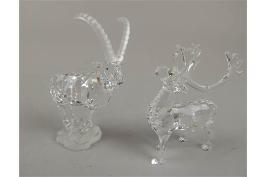 9ad41b29f A Swarovski style crystal figure of a mountain goat, perched on a ...