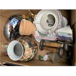 4 boxes of assorted bric a brac, Inc., smokers pipes, meat plates.
