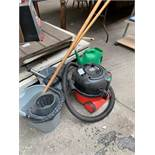 Henry hoover, together with mops and buckets.