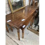 Mahogany coffee table 122 x 46 x 51cms with 2 matching under tables, 53 x 43 x 43cms.
