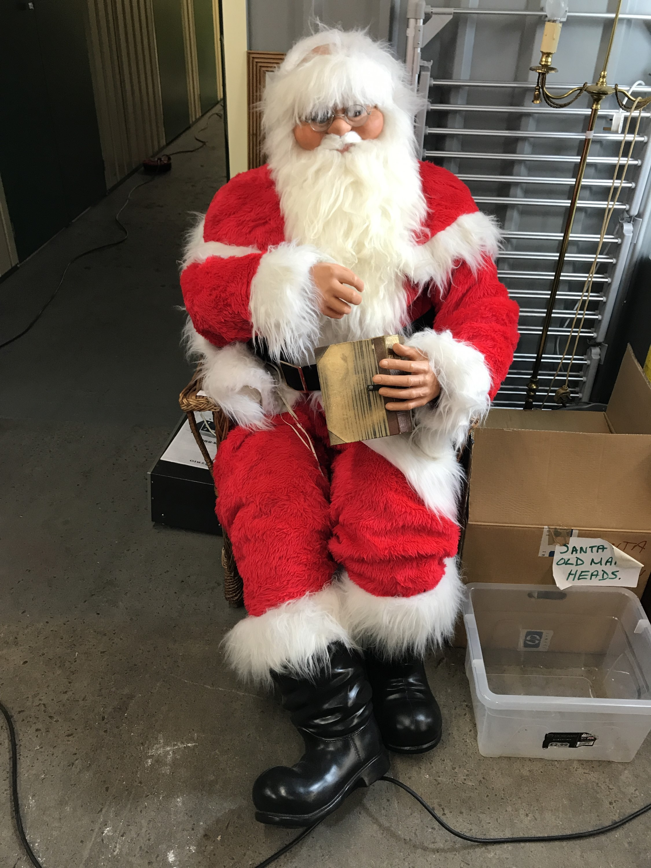 Lot 13 - A life size animated / animatronic figure, with Santa Claus and one other costume, manufactured by H