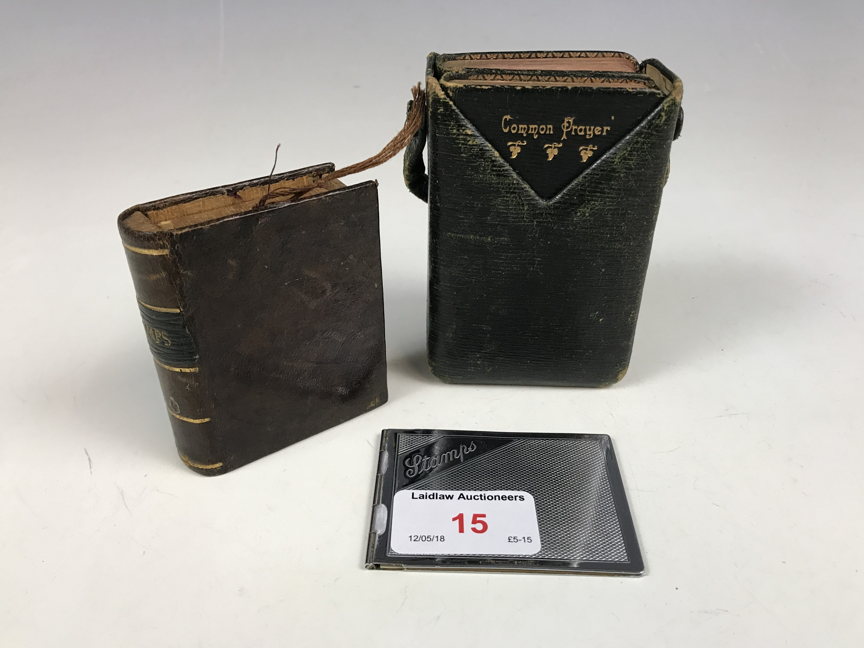 Lot 15 - A book of Common Prayer, treen stamp box etc