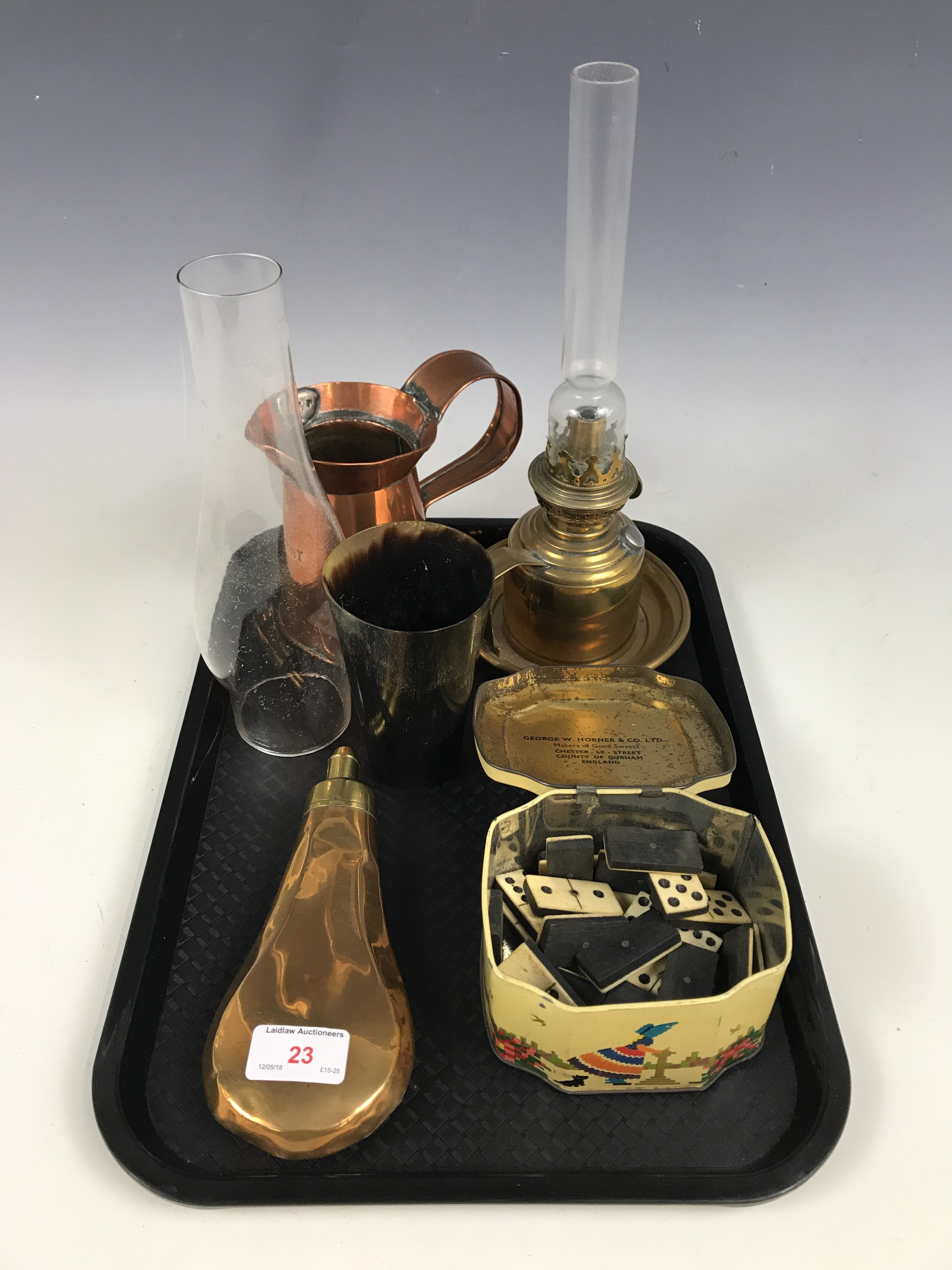 Lot 23 - Sundry collectors' items including a brass powder flask, a brass oil lamp, a horn beaker and bone