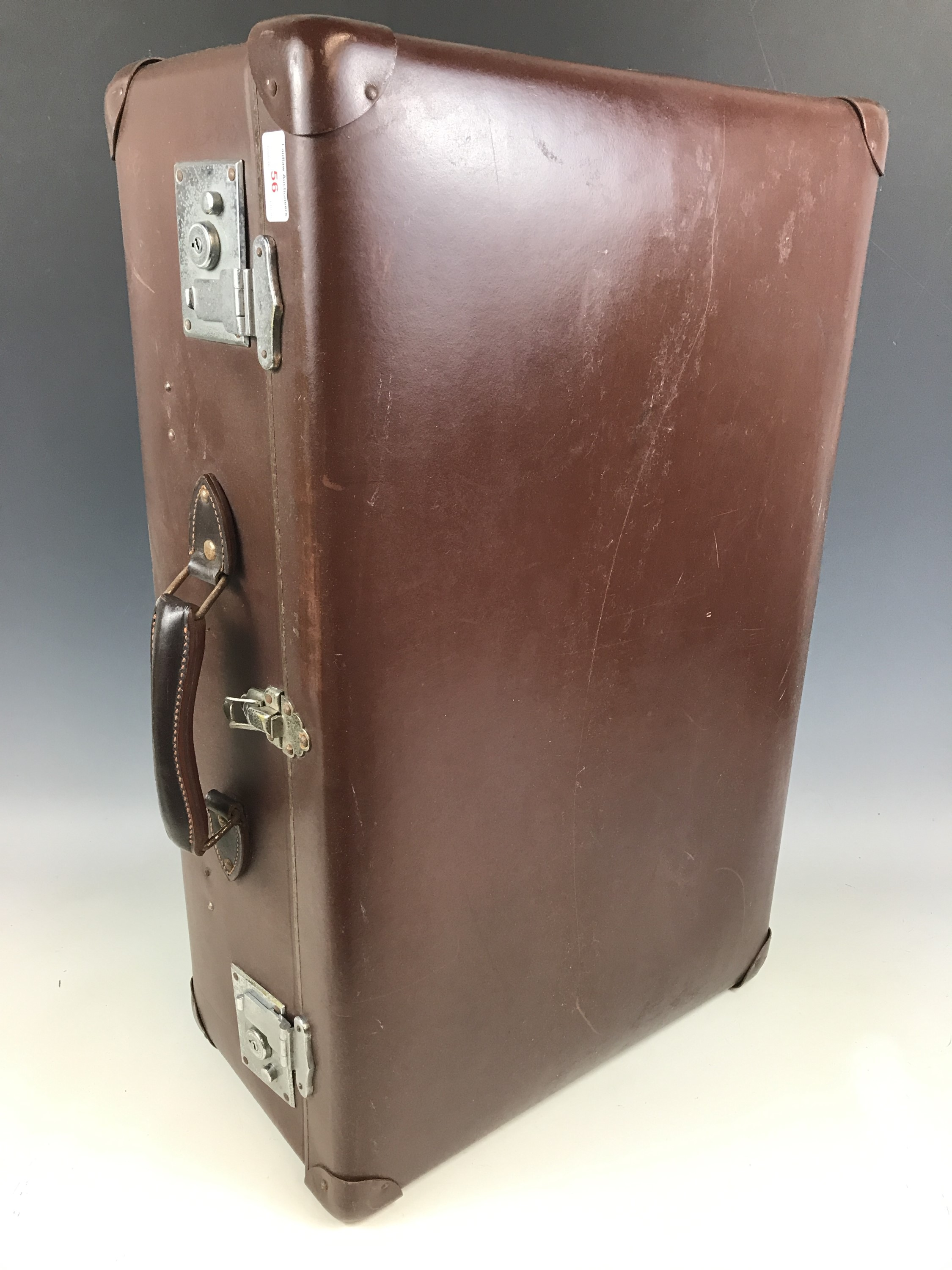 Lot 56 - A vintage Globe Trotter faux-hide travel case bearing 1950s Canadian Pacific SS Empress of