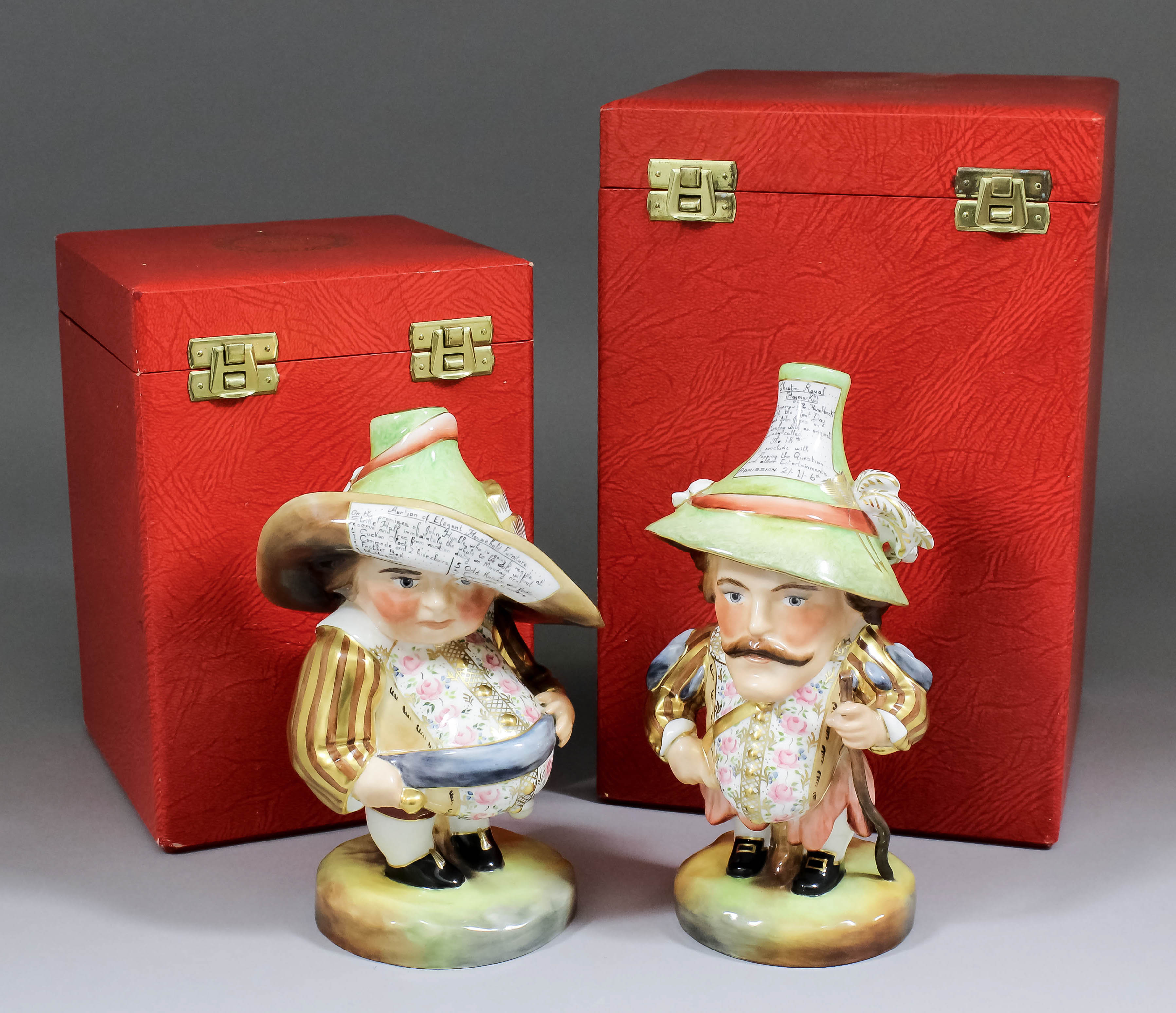 A pair of modern Royal Crown Derby porcelain figures of Mansion