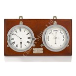 Lot 209 - A CLOCK AND BAROMETER SET FROM THE S.Y. JOYEUSE, 1898