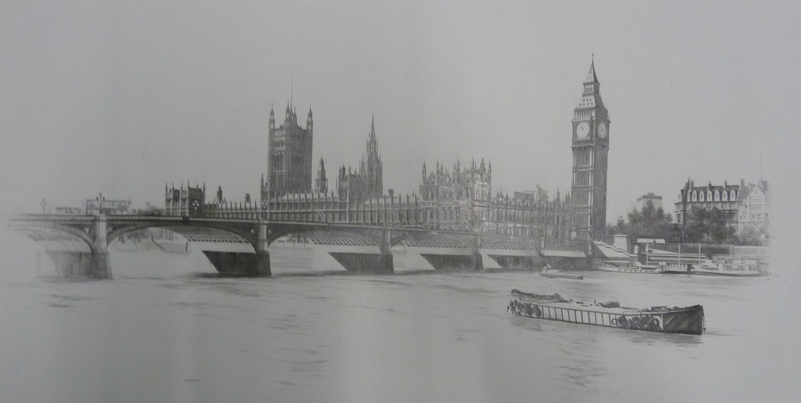Marc grimshaw b 1957 pencil drawing big ben and the palace of