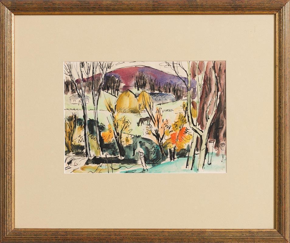Lot 1 - Norah McGuinness HRHA (1901-1980) Summer Landscape with Haystacks