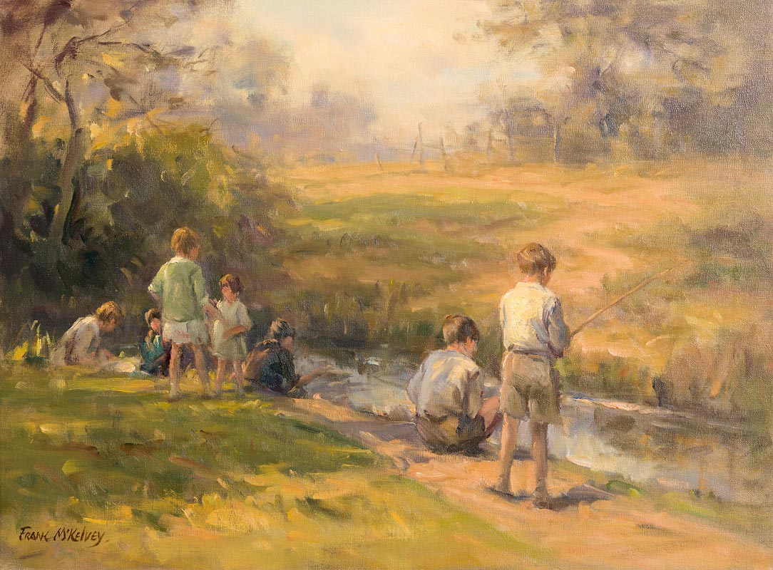 Lot 34 - Frank McKelvey RHA RUA (1895-1974) Boys Fishing