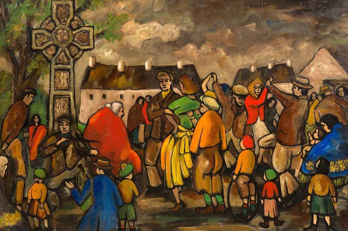 Lot 15 - Markey Robinson (1918-1999) Auld Lammas Fair