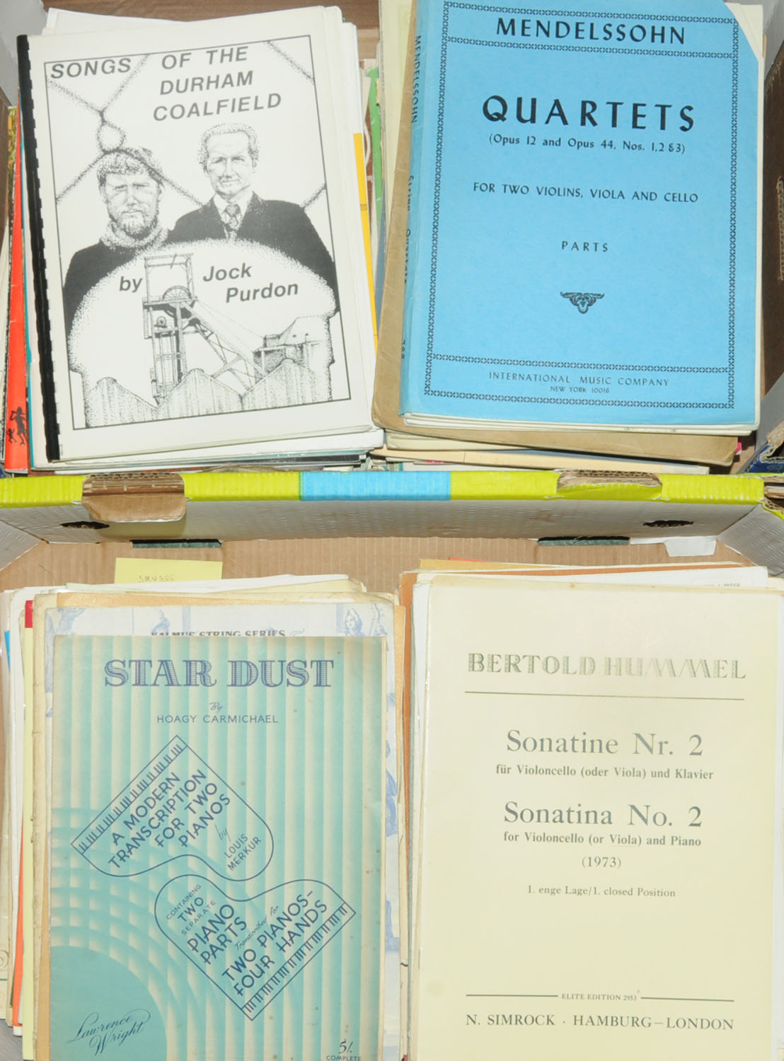 Lot 10 - Two boxes of predominantly violin and piano music.