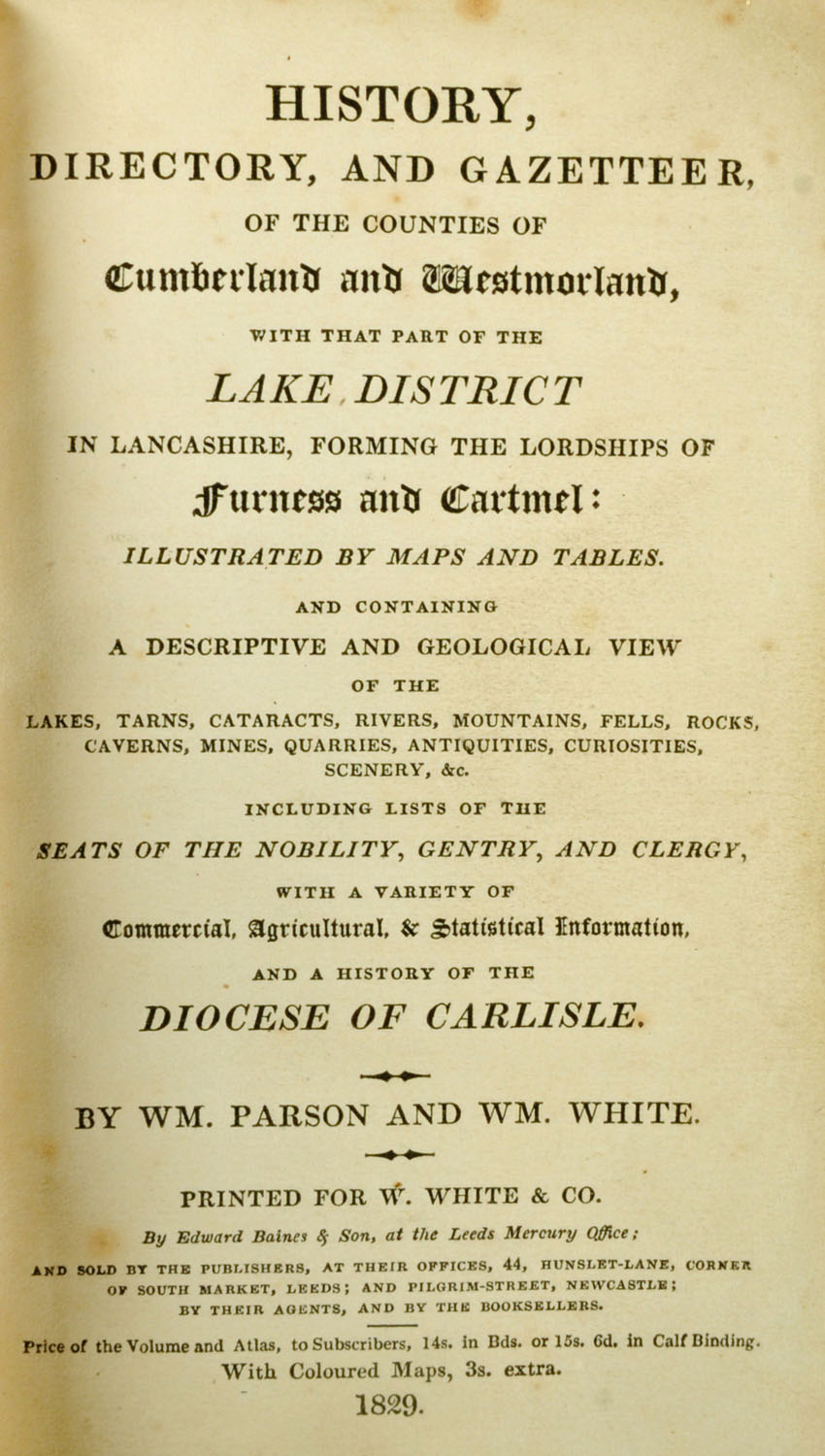 "Lot 5 - Parson and White ""History Directory and Gazetteer, of the Counties of Cumberland and Westmorland,"