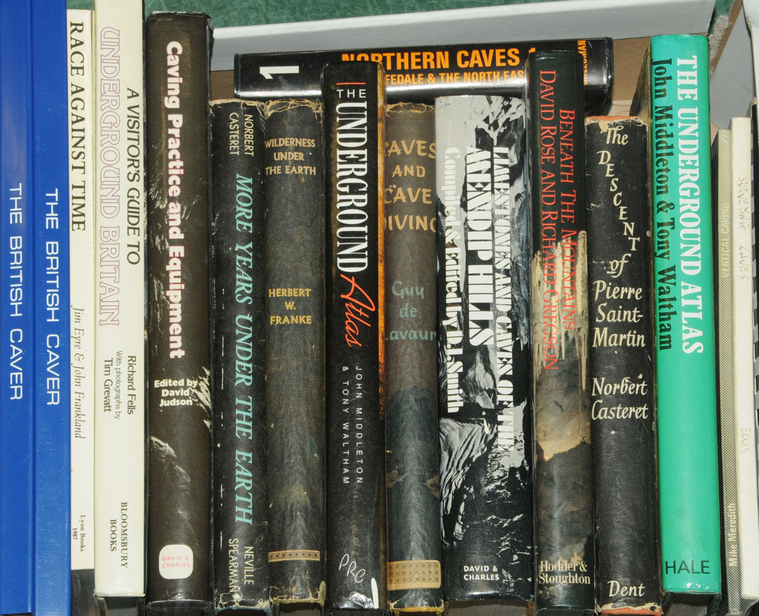 """Lot 57 - Nineteen books on caving, to include """"Limestones & Caves of The Mendip Hills"""" by D.I."""