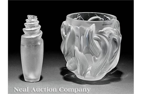 Lalique Dauphins Clear And Frosted Glass Vase Engraved Lalique
