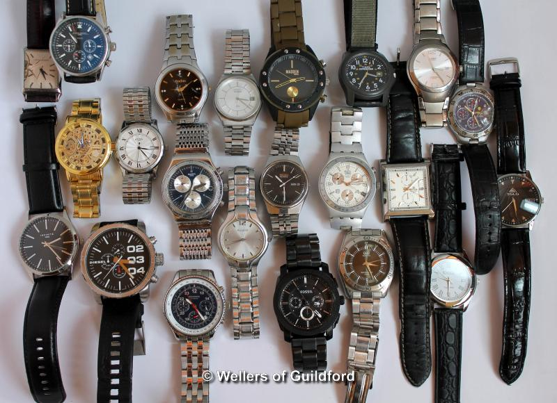 Lot 5013 - *Selection of twenty-two gentlemen's wristwatches, including Swatch, Seiko, Rotary (Lot subject to