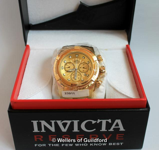 Lot 5023 - *Gentlemen's Invicta wristwatch, in gold coloured stainless steel, with luminous hour markers,