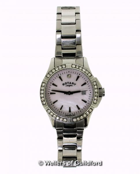 Lot 5049 - *Ladies' Rotary stainless steel wristwatch, circular pink mother of pearl dial, with white stone set