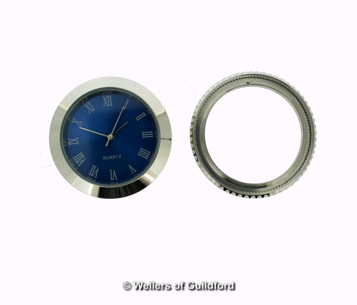 Lot 5048 - *Circular watch insert, with blue dial and Roman numerals, together with a watch bezel (Lot