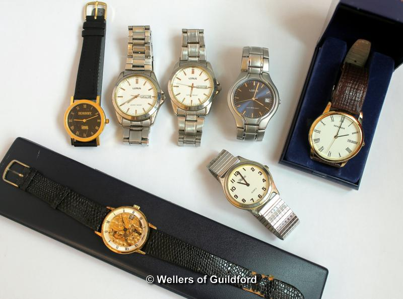Lot 5041 - Selection of seven gentlemen's wristwatches, including an Avia skeleton watch, three Lorus, a
