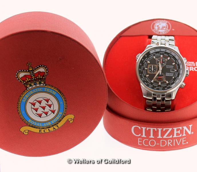 Lot 5025 - *Gentlemen's Citizen Eco-Drive RAF Red Arrows wristwatch, circular black dial, withe baton hour
