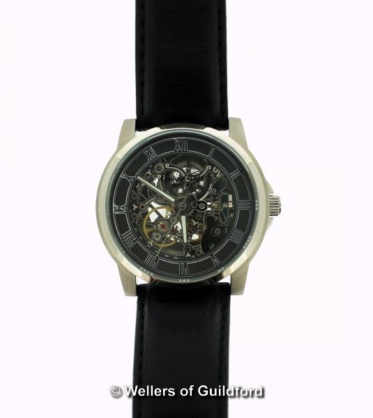 Lot 5009 - *Gentlemen's Kenneth Cole wristwatch, skeleton dial with Roman numerals, on black leather strap,