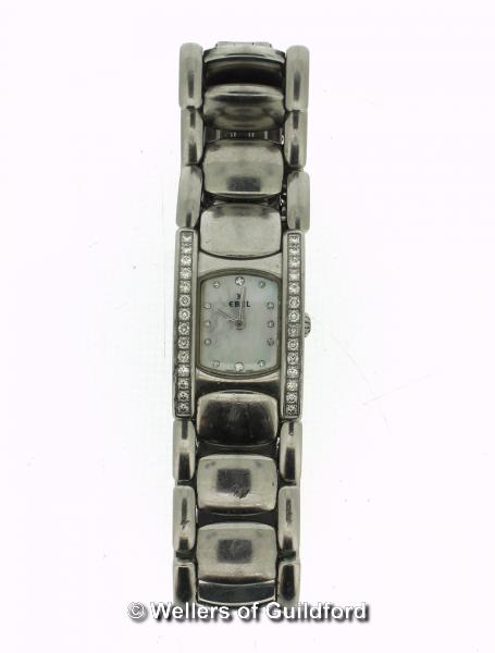 Lot 5015 - *Ladies' Ebel bracelet watch, stainless steel panels with mother of pearl dial, diamond dot hour