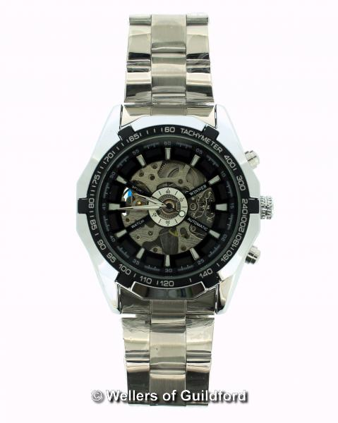 Lot 5046 - *Gentlemen's stainless steel skeleton wristwatch (Lot subject to VAT)