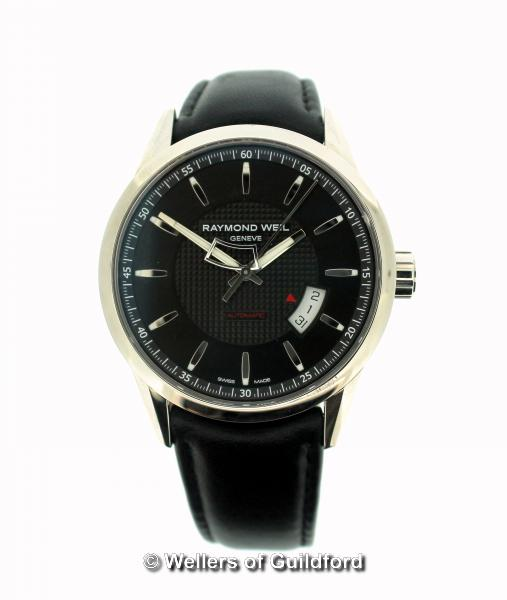 Lot 5006 - *Gentlemen's Raymond Weil Freelancer automatic wristwatch, circular black dial with baton hour