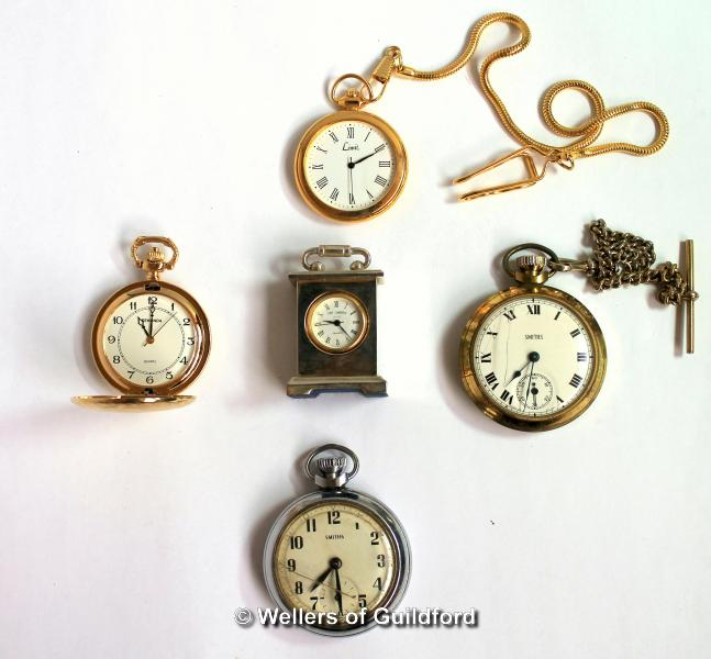 Lot 5037 - Miniature carriage clock in a box, together with four pocket watches
